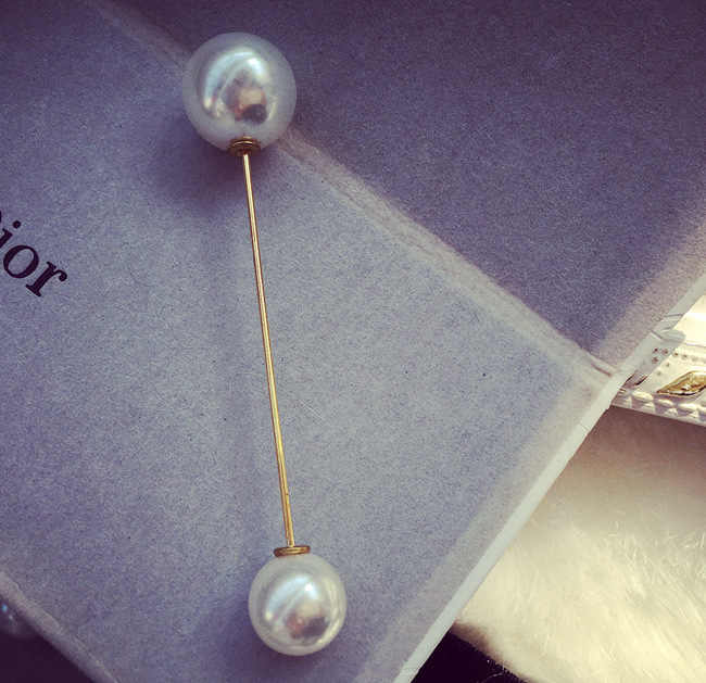 Ukuran Double Kepala Simulasi Mutiara Fashion Bros Perhiasan Wanita Kata Pin Kerah Kartu Cardigan Syal Tombol Pin Bridal Bros