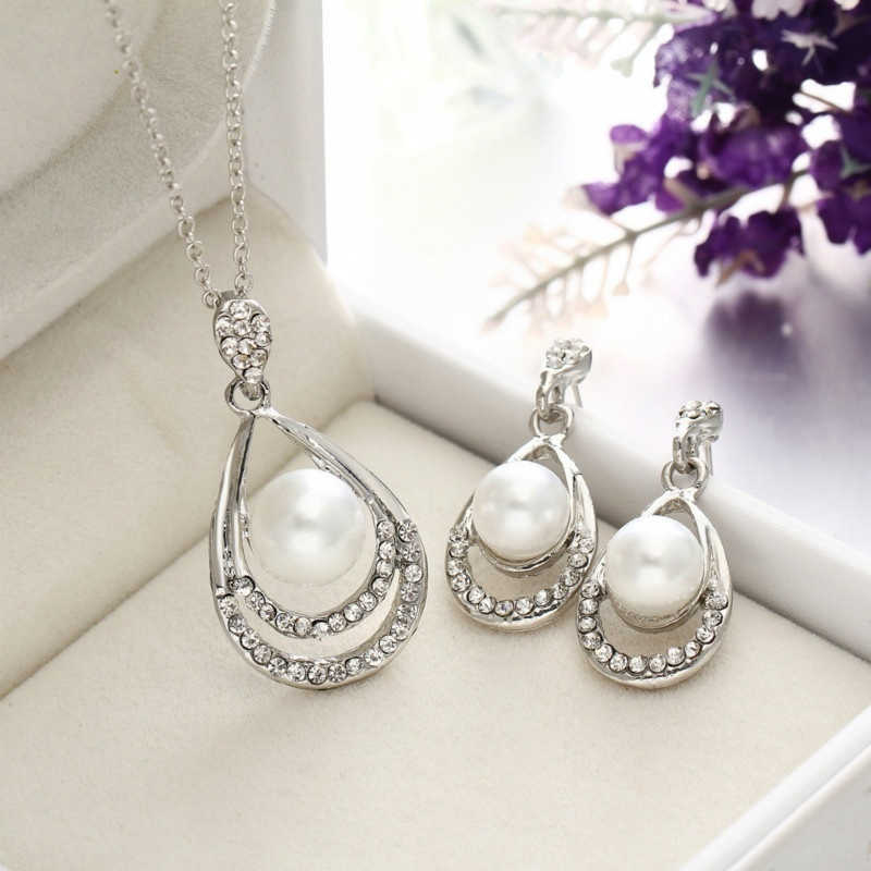 New Arrival Bridal Women Pearl Necklace Earrings Jewelry Sets Silver Gold Chain High Quality Crystal Jewelry Party Anniversary