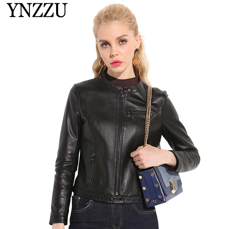 High Quality 100% Real Sheepskin Coat Women 2019 Spring Solid Genuine Leather Jacket Short Jackets For Women Outerwear AO814