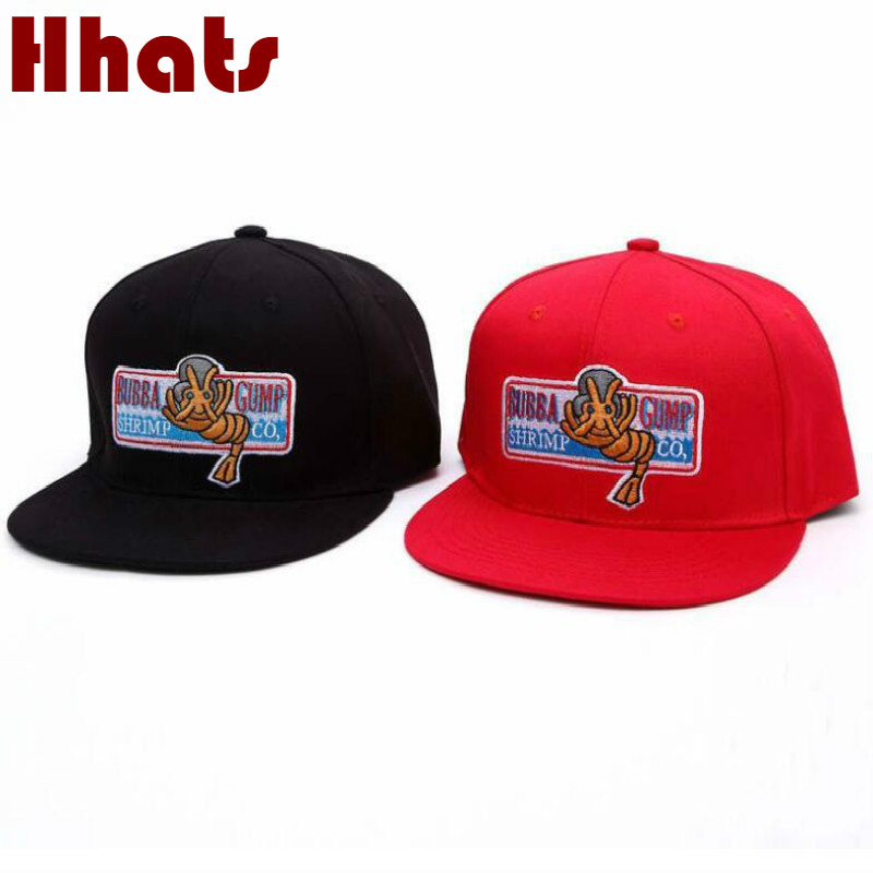 which in shower Black Red BUBBA GUMP Snapback Hip Hop   Cap   Embroidery Flat Brim   Baseball     Cap   Women Men Sports Female Male Bones