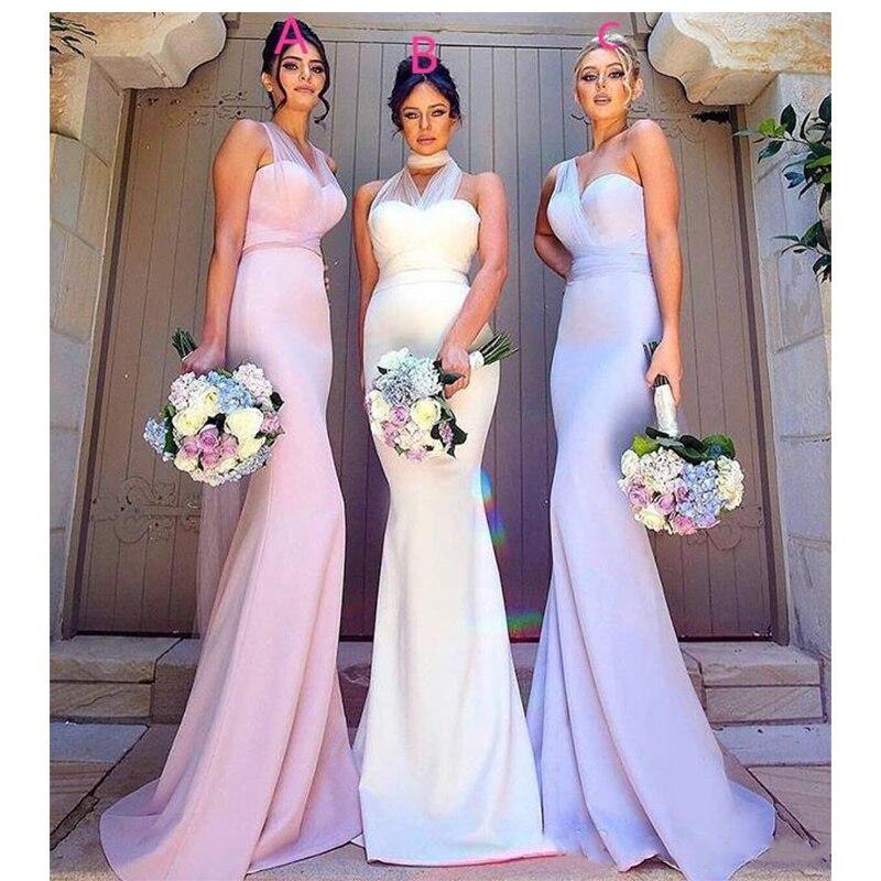 Maxi Style longue sirène robes de demoiselle d'honneur élégant sans manches robes de bal de mariage invité demoiselle d'honneur