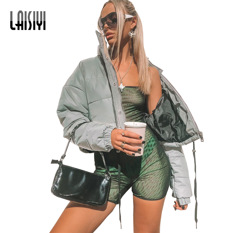 2019 women jacket high waist reflector cotton padded clothing zipper fly pockets ladies jacket female casual
