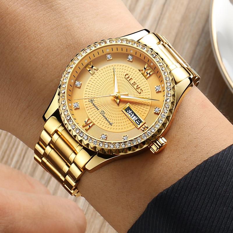 OLEVS Férfi karórák Top márka luxus teljes acél arany kvarc - Férfi órák - Fénykép 4