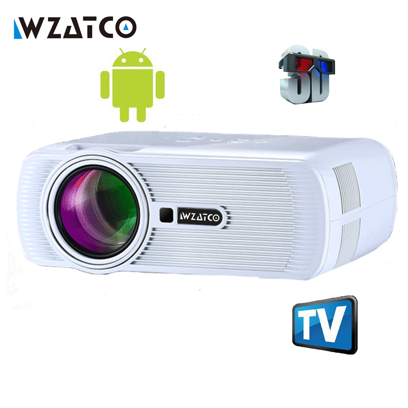 WZATCO 1800lm portable pico led mini HDMI video game TV android 4.4 WIFI projector pocket home cinema Projetor proyector Beamer mini tv micro dlp wifi portable pocket led smartphone projector bluetooth pico hd video 1080p hdmi for ipad iphone 6 7 white ios