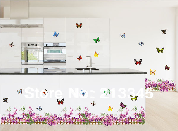 Fundecor Purple Butterfly Flower Baseboard Home Decoration Sticker Waterproof Pvc Kitchen Wall Tile Stickers