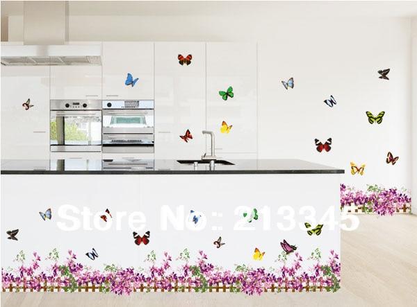 fundecor purple butterfly flower baseboard home decoration sticker waterproof pvc kitchen wall tile stickers 6139 in wall stickers from home garden on