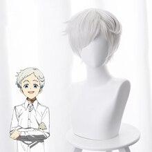 De Beloofde Neverland Norman Cosplay Pruik 30 cm Korte Rechte Anime Pruik Hittebestendige Synthetische Haar Wit Kostuum Partij Pruik