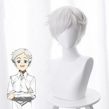 Парик для косплея по мотивам аниме обещанный Neverland Норман, 30 см, Короткий прямой парик из термостойких синтетических волос, белый парик для костюмов и вечеринок