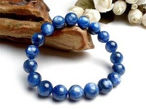 11mm Natural Blue Kyanite Gemstone Stretch Crystal Round Bead Bracelet
