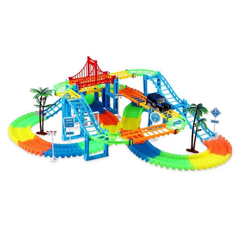 Bricolage chemin de fer magique course piste jeu ensemble bricolage plier piste de course lumineuse électronique Flash lumière voiture jouets pour enfants cadeau