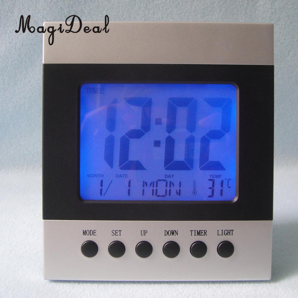Цифровой Подсветка будильник акустической Управление часы с Время Дата месяц неделя Температура Дисплей голос Управление Повтор