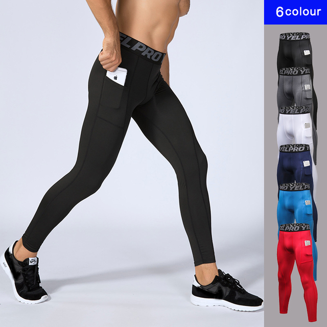 57c97a6aa4772 New Men Compression Pocket Sport Running Tights Men's Running Pants Gym  Fitness Training Sport Jogging Men Slim Sport Trousers
