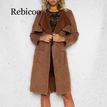 Rebicoo Lapel Collar Fur Coat Womens Elegant Leather Jacket Autumn 2019 Winter Casual