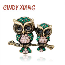 CINDY XIANG Rhinestone Owl Brooch Mam and Kids Bird Brooches Women Men Jewelry Suit T-shit Accessories Summer Style New 2018
