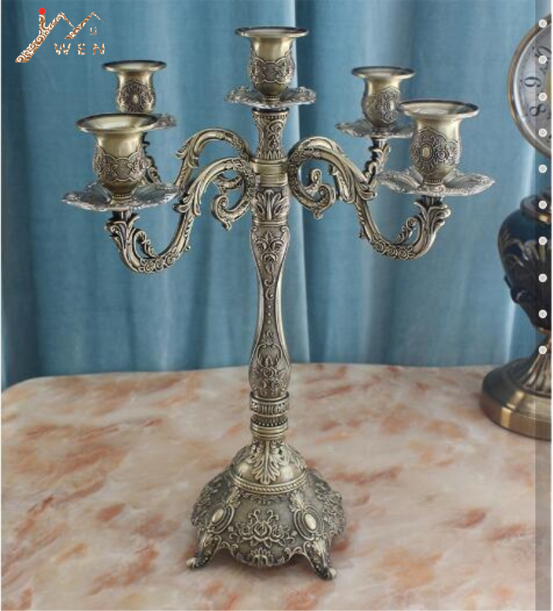 Bronze Candle Holder 5-arms Shiny Plated Candelabra Romantic And Luxury Metal For Wedding Events Or Party DecorBronze Candle Holder 5-arms Shiny Plated Candelabra Romantic And Luxury Metal For Wedding Events Or Party Decor