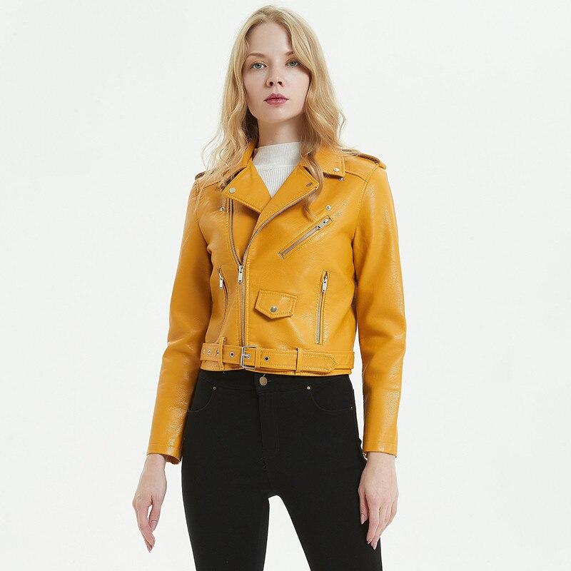 Jaune automne femmes Pu Faux cuir Moto veste courte revers Moto veste avec ceinture rouge vin filles manteau grande taille Streetwear