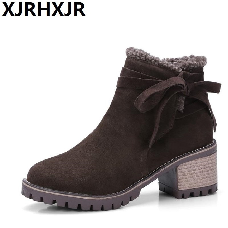 XJRHXJR Thick Heels Women Boots Female Winter Shoes Woman Warm Snow Boots Fashion Suede Fur Ankle Boots Black Brown Size 33-43 xjrhxjr size 33 43 shoes woman autumn winter warm shoes fashion wedges heel mid calf boots suede leather riding boots black gray