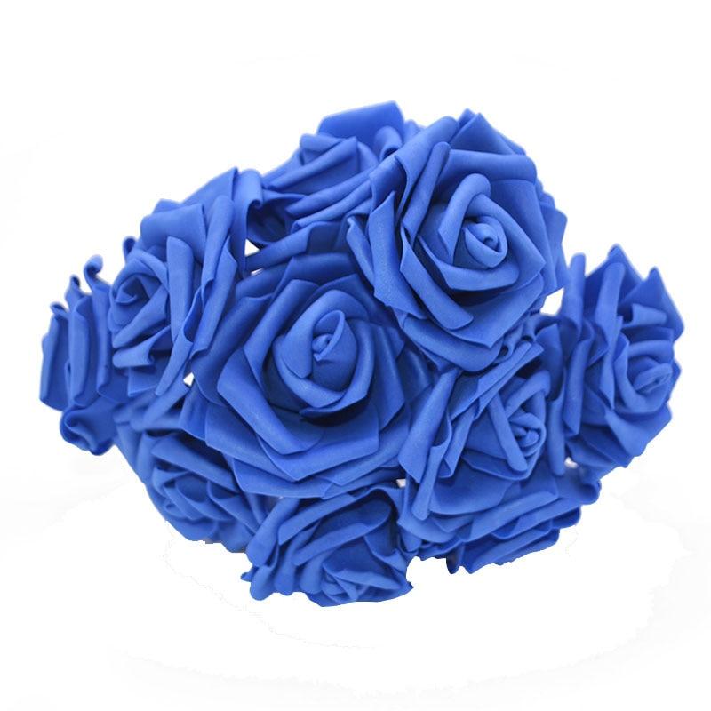 10 шт. 8 см большие ПЭ пенные цветы искусственные розы цветы Свадебные букеты Свадебные украшения для вечеринки DIY Скрапбукинг Ремесло поддельные цветы - Цвет: royal blue no leaf