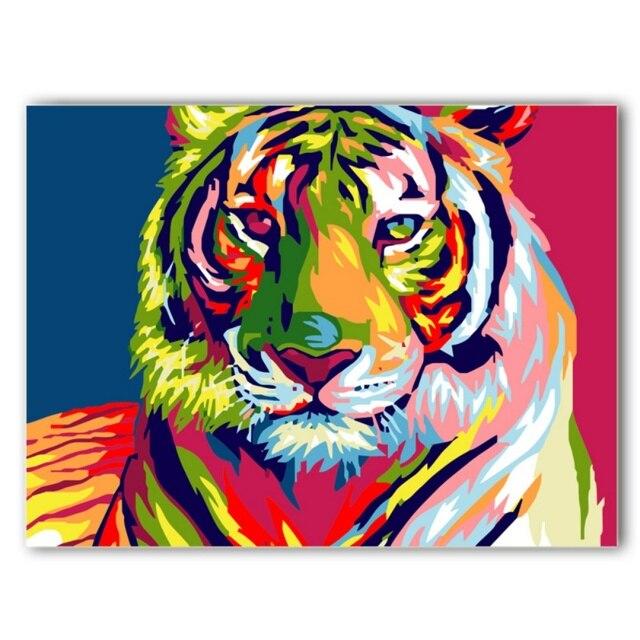 Us 391 30 Offgemälde Durch Zahlen Diy Wanddekor Farbe Figurenmalerei Rahmen Bilder Malen Nach Zahlen Leinwand ölgemälde Auf Leinwand Tiger In