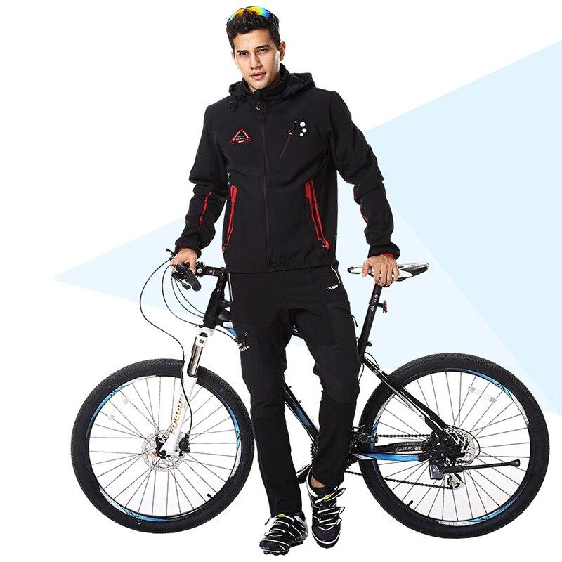 Рюкзак 2017 зима тепловой Езда на велосипеде куртка Ветрозащитный с длинным рукавом утолщение пальто MTB велосипед MTB велосипед одежда наборы