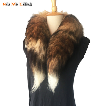 100% Real Fur Collar For Coats luxury Warm Natural Fox Fur Scarf Women Large Fur Scarves Winter Scarf Women and Men 80CM,SC06 image