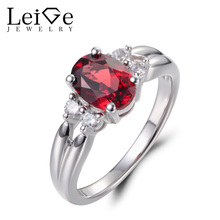 Leige Jewelry Engagement Rings Natural Red Garnet Rings January Birthstone Red Stone Ring 925 Sterling Silver Fine Jewelry Gifts