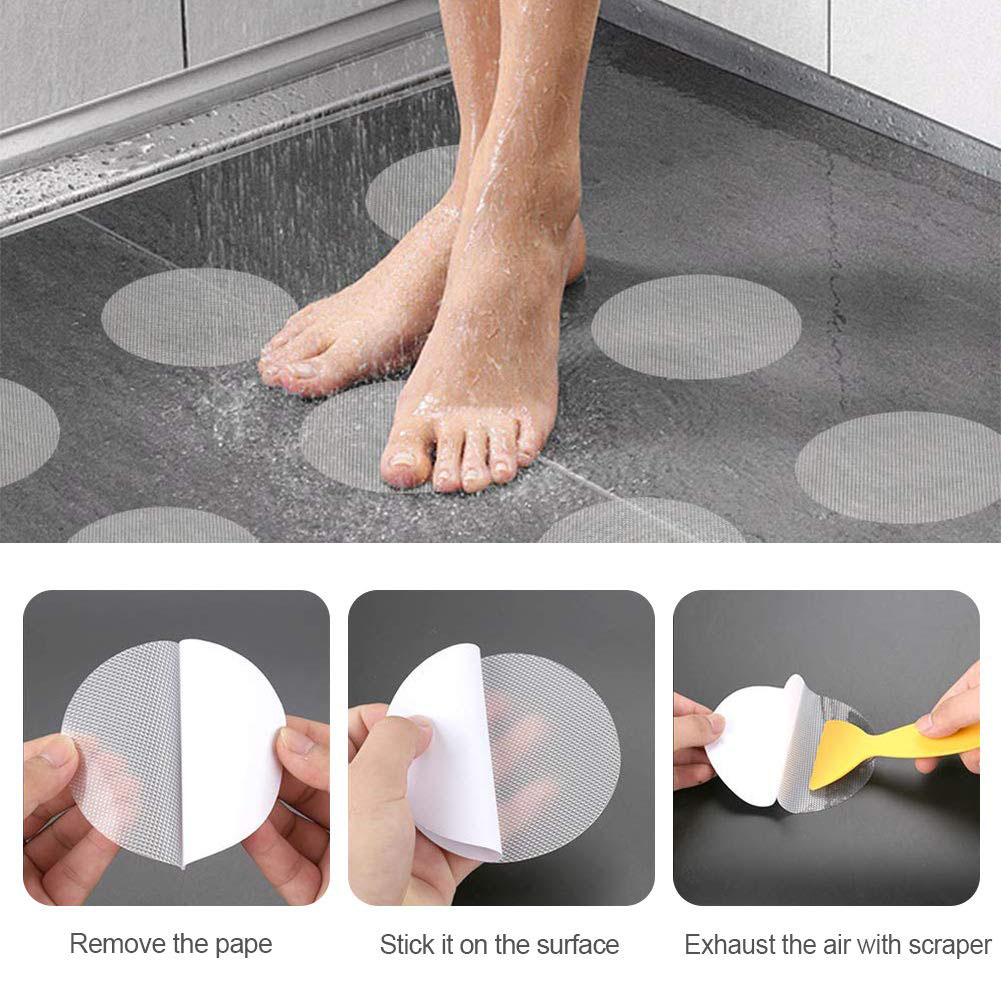 40pcs Non-Slip Mat Applique Bathroom Accessories Safety Bath Tub Shower Floor Sticker Anti-Slip Bath Grip Stickers Peva Round