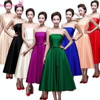 Plus size roxo multi cor tea length vestido de baile sexy strapless da dama de honra vestido de empregada doméstica das noivas vestidos 2018 azul royal B2905