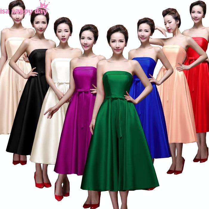 Plus Size Wedding Dresses With Color: Purple Plus Size Multi Color Bridesmaid Tea Length Ball