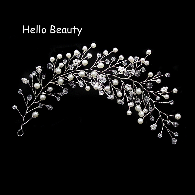 Silver Gold Color Pearl Crystal Hair Vine Bride Headdress Beads Head Piece Wedding Hair Decoration Handmade Bridal Hair Jewelry