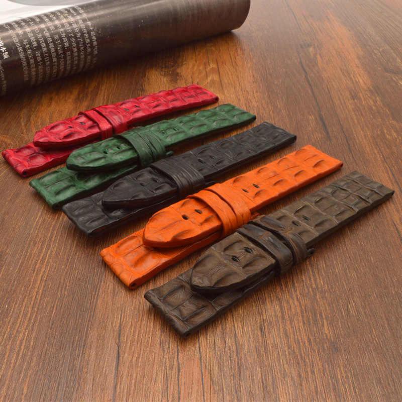 Crocodilo padrão de couro Pulseira De Borracha faixa de Relógio borboleta Fivela para cinto cinta para Big Bang logo em