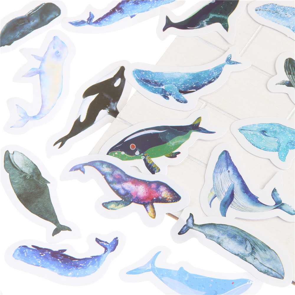 45 Unids/pack Animales Pez Ballena Azul Mini Etiqueta Engomada de ...
