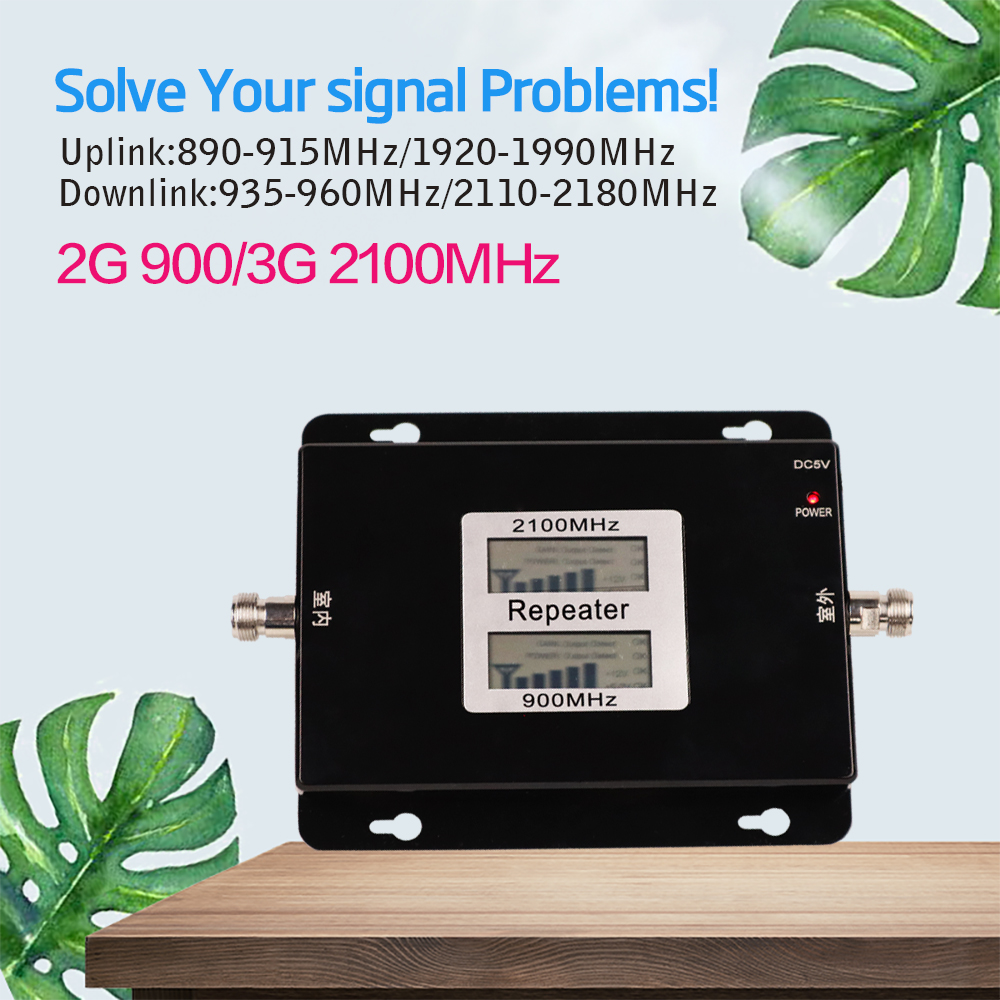 Double bande Booster 3G répéteur Double affichage GSM 900 MHz UMTS 2100 MHz téléphone portable WCDMA répéteurs 2G amplificateur Signal Booster