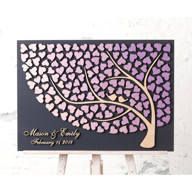 Unusual Wedding Guest Book Ideas: Personalized 3D Wedding Guest Book Alternative Wooden