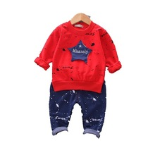 2019 Autumn Children Baby Clothes Kids Boys Girls Cartoon Letter T Shirt Pants 2 Pcs/sets Toddler Fashion Infant Tracksuits kids tracksuits 2018 new autumn boys clothes sets letter printed hoodies