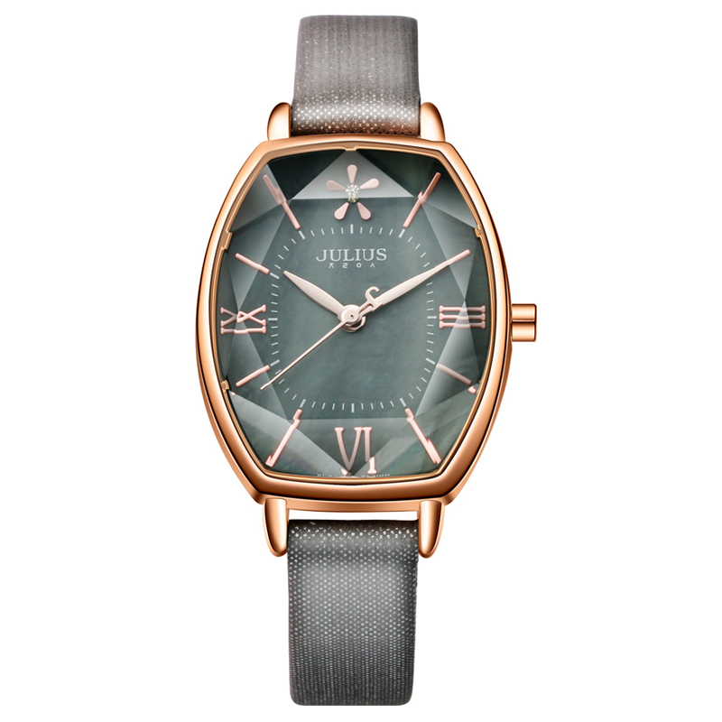 Top Julius Brand Woman Watch Rose Gold Dress Lady Leather Quartz Watch Girl Watches Clock Creative Barrel Shape Roman Character