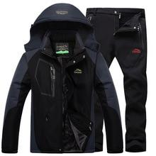 Лыжный костюм, лыжный костюм, мужские лыжные и сноубордические комплекты, супер теплая водонепроницаемая ветрозащитная флисовая куртка+ штаны, зимний мужской костюм