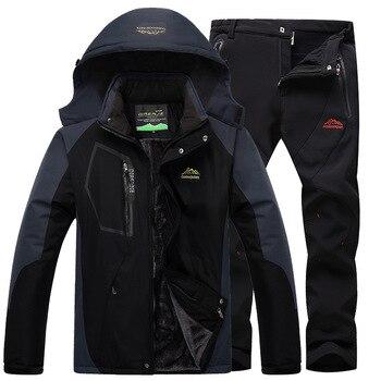 Ski Suit Ski Suit Men Skiing And Snowboarding Sets Super Warm Waterproof Windproof Fleece Jacket+pant Winter Snow Suit Male