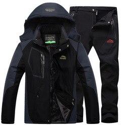 Traje de esquí, traje de esquí para hombre, juegos de esquí y snowboard muy cálidas, chaqueta de lana resistente al viento y pantalón de invierno, traje de nieve para hombre