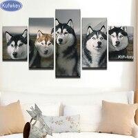 5pcs 5D Diy Diamond Painting Huskies Dog Stitch Cross Full Diamond Embroidery Animals Diamond Mosaic Diamond