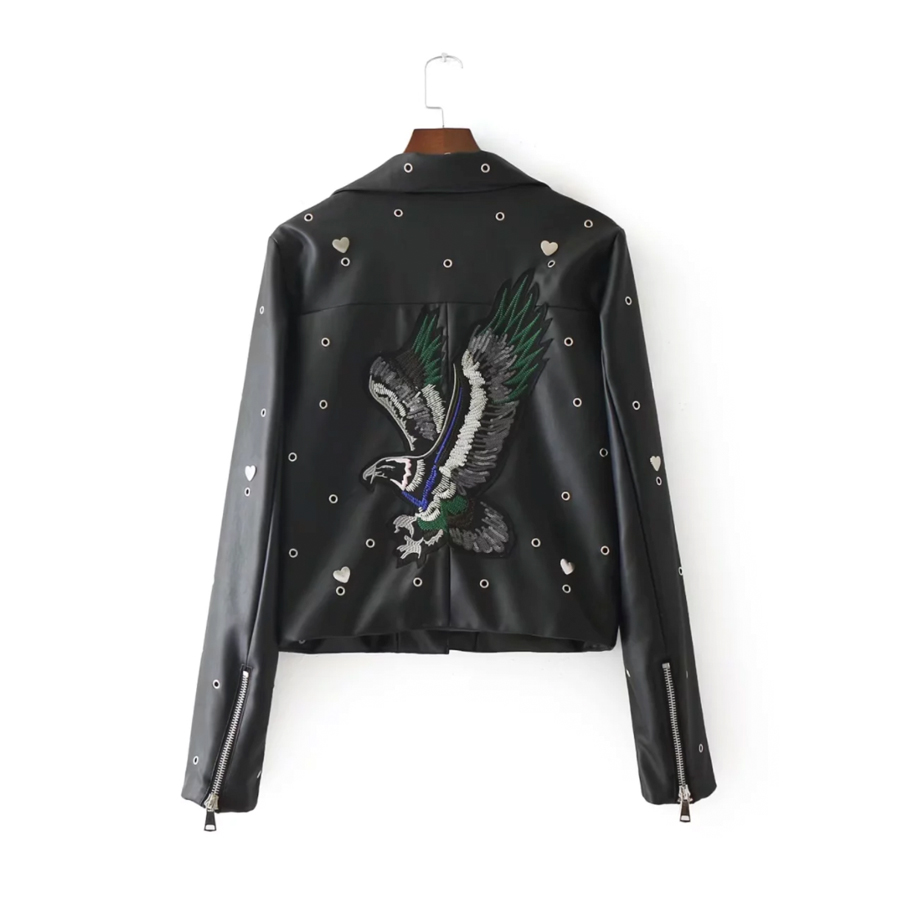 Broderie Zipper Casual Vestes 2017 Cuir Longues Et Femmes Manteaux En Veste Noir Tops Outwears Manches À Automne Manteau wawB4qY