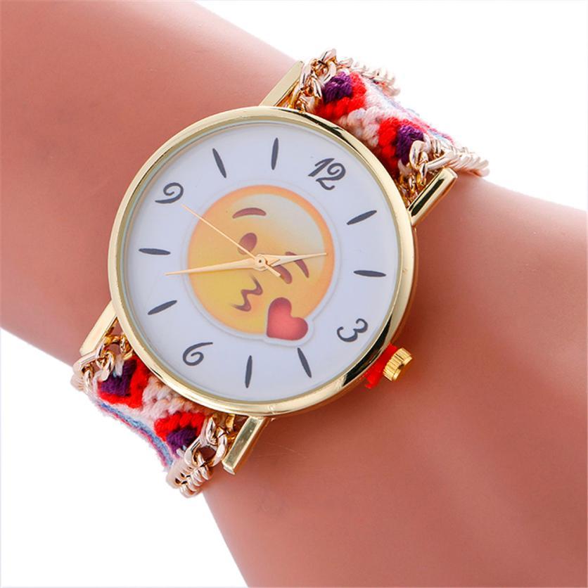 e06d3d6cdfa Detail Feedback Questions about Aimecor Relogio Feminino Fashion Cute Emoji  Pattern Braided Rope Bracelet Women Wrist Watch Relogio Feminino on ...
