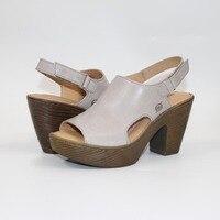 New High heel Leather Sandals Women sandals Vintage clogs women sandals High quality women's shoes