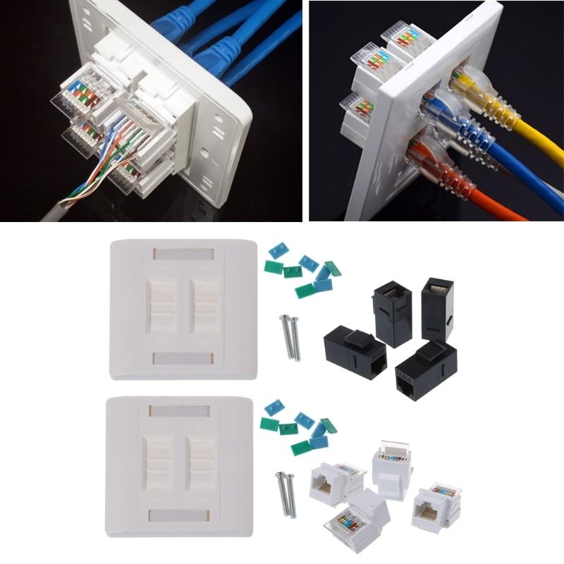 Network Tool kit стены пластины 4 Порты CAT5e RJ45 сети 86 мм Стандартный стены пластины белый