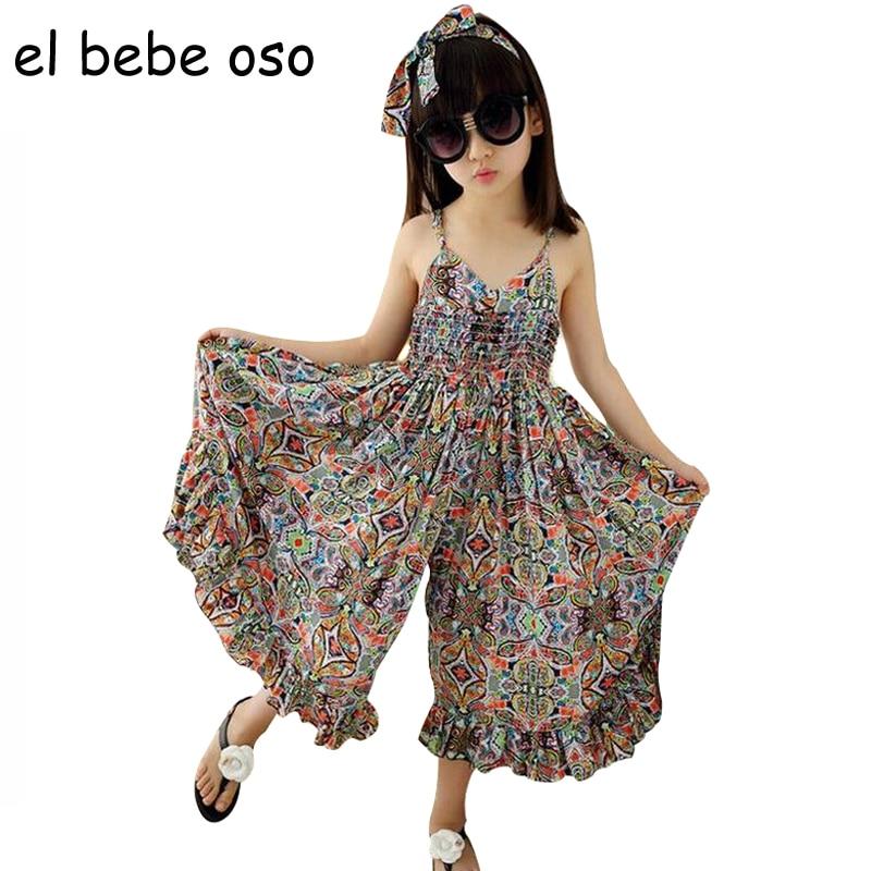 Baby Girls Summer Rompers New Brand Kids Wide Leg Pants Girls Dress Print Bohemian Beach Jumpsuit Fashion Children Clothes XL21