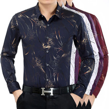 2016 men's Shirt Mens Business iron shirt middle-aged man bronzing printing shirt