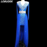 Женский кристаллы Костюм Полный Стразы Синий Красный кисточки длинное платье пикантные женские певец и ведущий сценический наряд ночной к