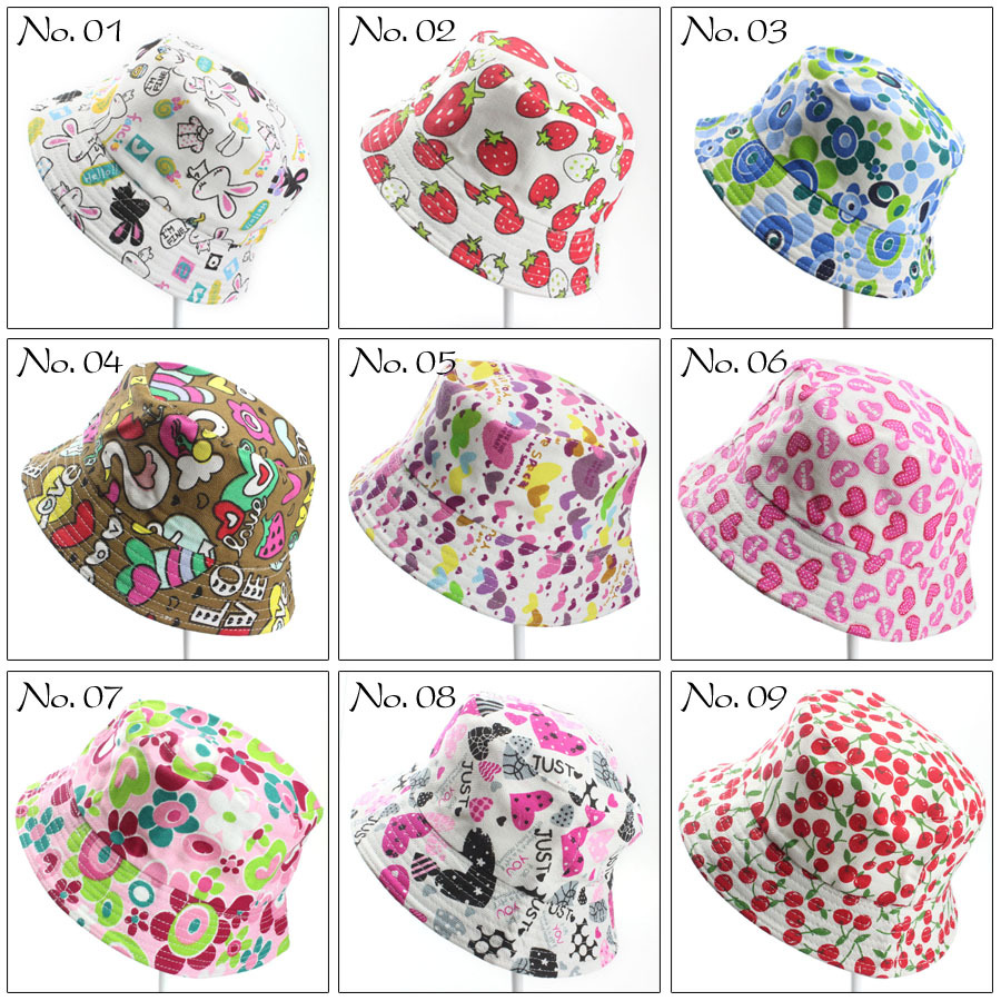 24pcs Anyongzu Unisex Print Fitted Children Printing Sun Hat Floral Baby Beanie Basin Summer Sunscreen Hat mix 50-52cm