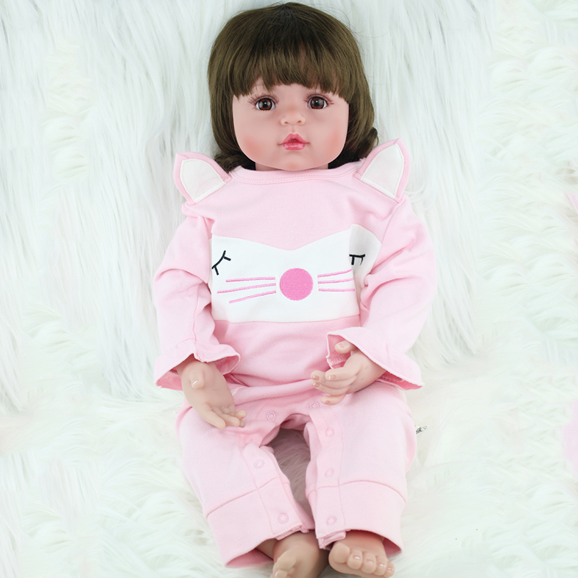 2017 Silicone Reborn Dolls Children Babies Born Girls Cotton Body Alive Doll Brinquedos Baby-reborn Toys Birthday Gift Present silicone reborn baby doll toy lifelike reborn baby dolls children birthday christmas gift toys for girls brinquedos with swaddle