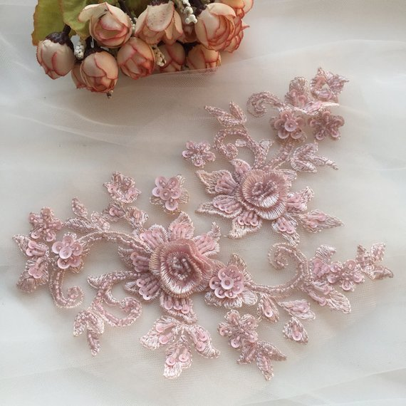 Pink 3d florals motif bodice 10 pieces Hand sewn heavy bead bridal lace applique with sequin